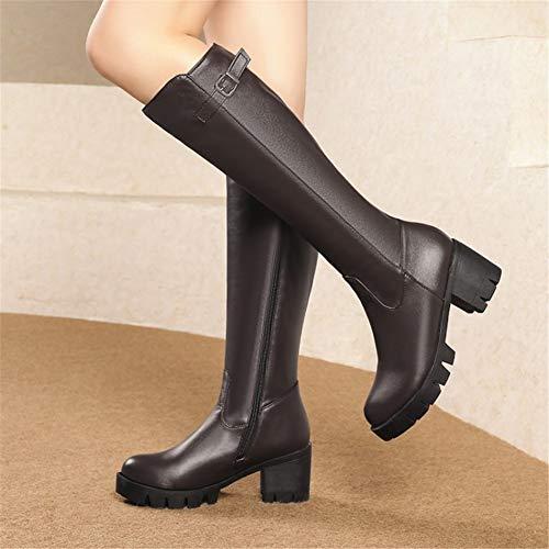 L'automne L'hiver Femmes Mi Noire Cuissardes Bottes Boots 45 Taille xZYS8nx