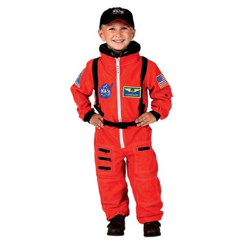 Aeromax Jr. Astronaut Suit with Embroidered Cap and NASA patches, ORANGE, Size 6/8 Astronaut Space Gloves