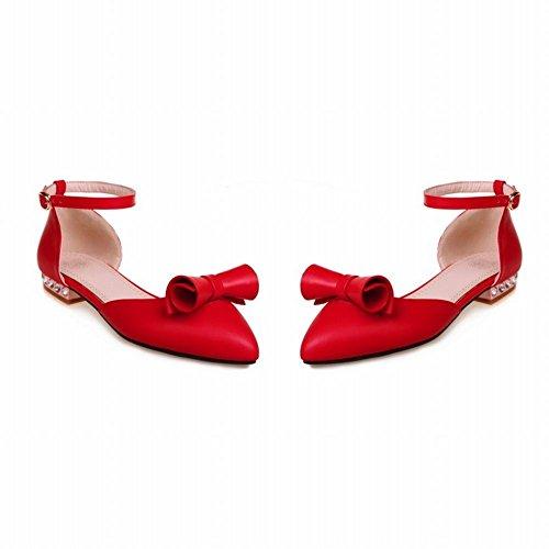 YE Damen Flache Pumps mit Riemchen Geschlossen Sommer Sandalen Ohne Absatz Bequem Schuhe mit Schleife Rot
