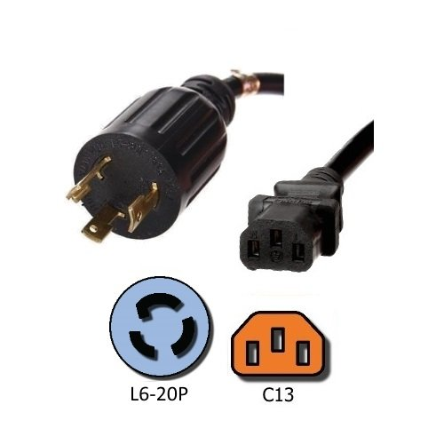NEMA L6-20P to C13 Power Cord - 10 Foot, 15A/250V, 14/3 AWG - Iron Box Part # IBX-4938-10M