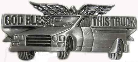 (Sterling Gifts God Bless My Pickup Truck Visor Clip with Angel, Trucker)