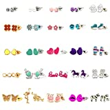 Gold Plated&Sliver Plated 25 Pairs Stainless Steel Post Multiple Animal Artificial gem Stud Earrings Set for Girls lady women (25 pairs)