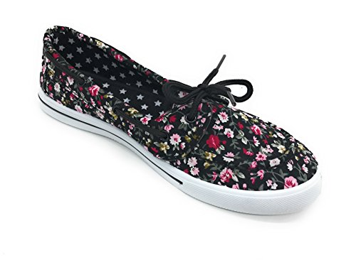 On Blue Comfy EASY21 Black Boat Berry Floral Canvas Toe Flat Sneaker Tennis Lace Shoe Round Slip up 00Uqgrw