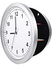 Wall Clock Safe Secret Compartment, Clock Safe, Perfect Place Modern Design Valuables Durbale Silver Livingroom for Home