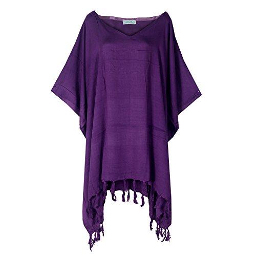 Tropicalsale Women's Purple Simple Plain Caftan Tunic Top Big Plus Size