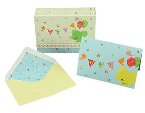 Baby Shower Thank You / Invitation Cards, Envelopes and Keepsake Box - Baby's Buddies, 10 Blank Inside Notecards w/ 11 Matching Envelopes. Baby Shower Thank You, Invitation, Stationery Note Cards