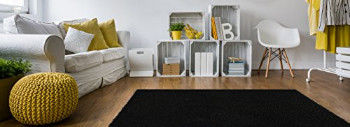 Soft Shag Area Rug 3x5 Plain Solid Color BLACK - Contemporary Area Rugs for Living Room Bedroom Kitchen Decorative Modern Shaggy Rugs
