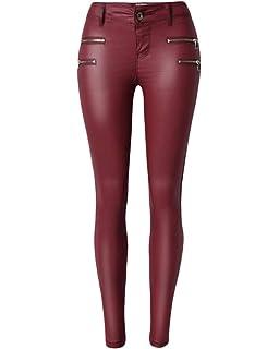 QitunC Damen Niedrige Taille Kunstleder Hose Leggings PU Coated Stretch  Skinny Jeans Biker Hosen 172f6df5f5