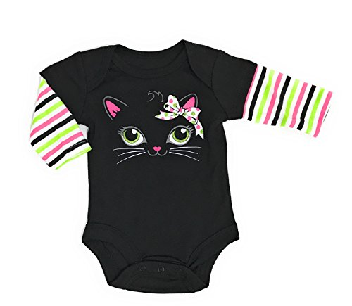 Assorted Witch, Pumpkin, Cat, Skeleton, Ghost Baby Boys & Girls Halloween Long Sleeve Bodysuit Dress Up Outfit (18 Months, Black Kitty)