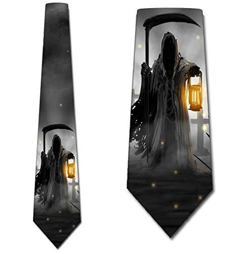 Halloween Necktie - Halloween Tie Grim Reaper Mens Neckties by Three Rooker