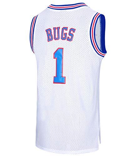 RAAVIN Bugs 1 Space Movie Jersey Squad Men's Basketball Jersey White/Black Size S-XXXL (White,Small)