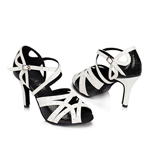 Blanco Baile Latinos De Zapatos Salsa C Cuero De Tango Clásica Salón Tacón Baile Para Strap Byjia Tobillo Negro Chunky Alto Hebilla Suede Mujer Sandalias qp1Ewwt