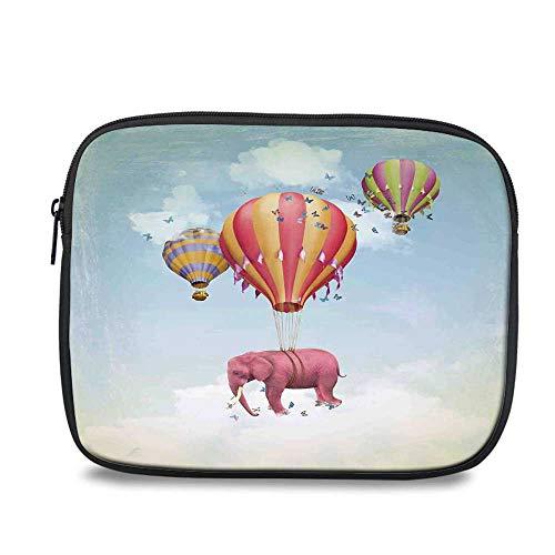 - Elephants Decor Durable iPad Bag,Pink Elephant in The Sky with Balloons Illustration Daydream Fairytale Travel Decorative for iPad,10.6