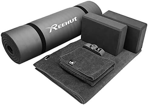 Reehut Yoga Starter Kit 6-Piece Set - Includes 1/2
