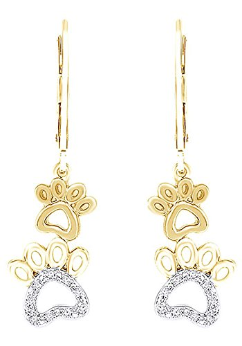 White Natural Diamond Paw Print Earrings In 10K Solid Yellow Gold (0.2 (0.2 Ct Diamond Earrings)