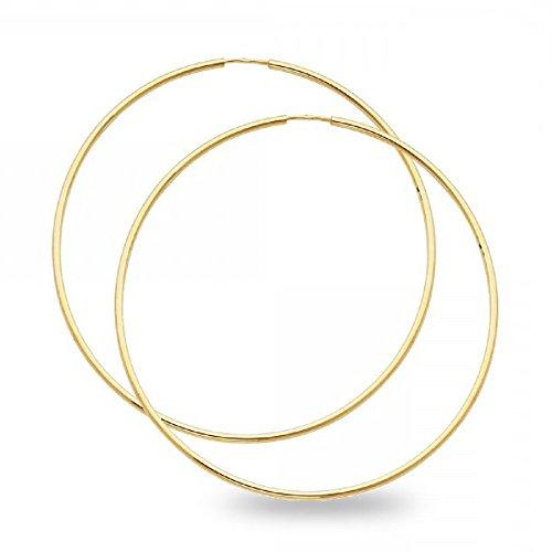 Yellow Gold Plain Round Hoop - 5