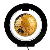 6 Inch O-Shaped Frame Led Magnetic Floating Globe Illuminated Rotating Ornaments Decor Gift, Golden(US Plug)