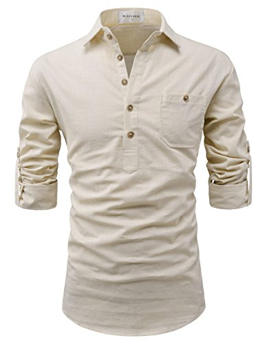 NEARKIN (NKNKN450 Adorable Mens Roll-Up Sleeve Design Urbane Casual Cotton Shirts Beige US XL(Tag Size - Beige Shirt Casual