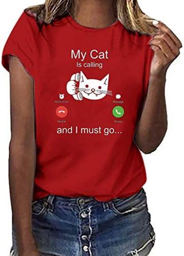 [해외]jin&Co Women Fashion Casual Cat Print Short Sleeve O-Neck T-Shirt Top Blouse Tee / jin&Co Women Fashion Casual Cat Print Short Sleeve O-Neck T-Shirt Top Blouse Tee