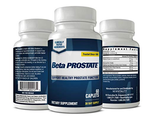 Beta Prostate Supplement for Men - Urinary Health & Prostate Support w/ Beta Sitosterol, not Saw Palmetto - Reduce Bathroom Trips, Promote Sleep, Better Bladder Emptying (60 Caplets, 1-Pack)