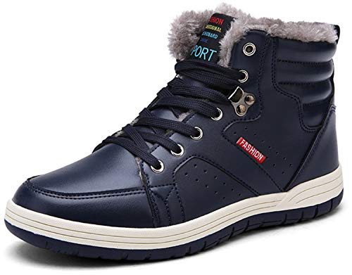 (JIASUQI Classic Waterproof Winter Ankle Snow Boots for Men Blue 14 M US)