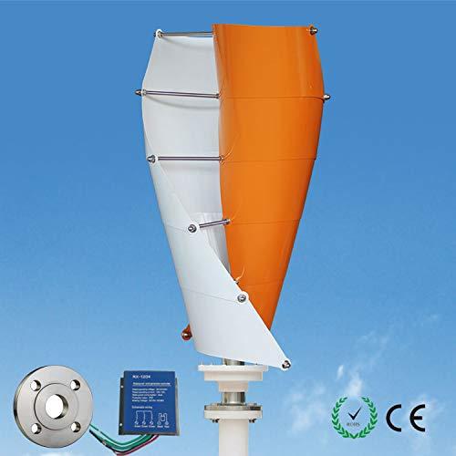- Wonderful Online Wind Turbine Generator Orange White Mini Windmill Generator kit Vertical axis 100-400W Three Phase AC/DC12V Including a Controller, Flange Home,Business,rv, Marine Energy Supply
