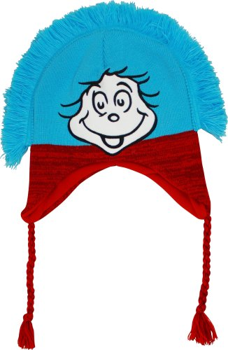 Dr. Seuss The Cat in the Hat Thing One and Thing Two Knit Laplander Peruvian Hat (Knit Peruvian Laplander)