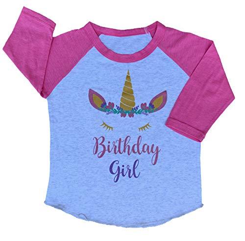 Birthday Girl Toddler Kids Glitter T-Shirt (Pink Sleeve Unicorn, 2 Toddler) ()