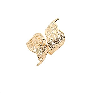 Spinningdaisy Gold Plated Double Leaf Adjustable Statement Ring