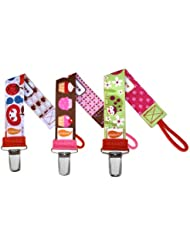 Personalized Pacifier Clip - Set of 3 (Fruit Salad, OMG Cupcakes, Lady Bug)