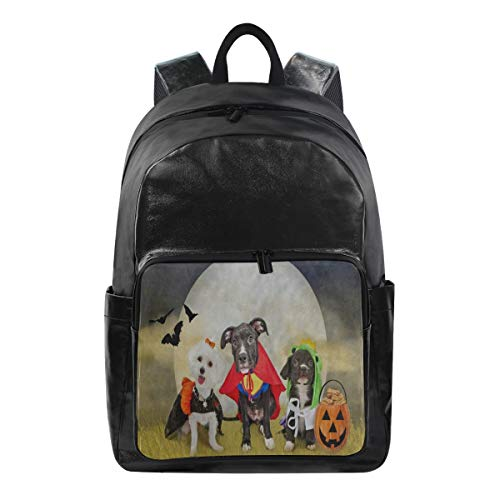 Casual Lightweight Laptop Backpack,Hipster Puppy Dog Dressed in Halloween Costumes Durable Travel College Bag for Womens/Girls ()