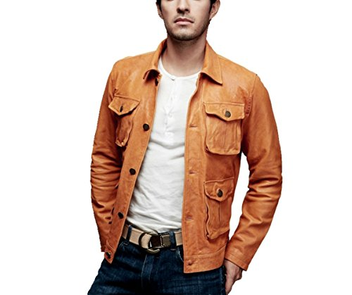 World of leather Designer Blazer Biker Style Sheep/Lamb Skin Leather Jacket Tan (L)