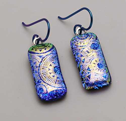 Blue gold sundial pattern fused dichroic glass niobium dangle earrings #279
