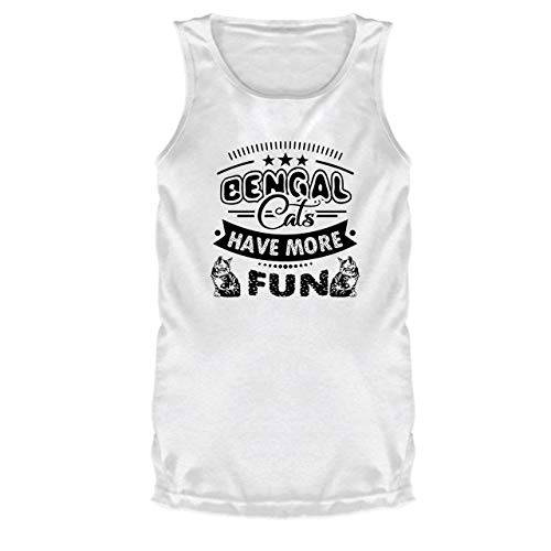 Bengal Cats Have More Fun Mens T-Shirt, Sleeveless T Shirt (L, White)