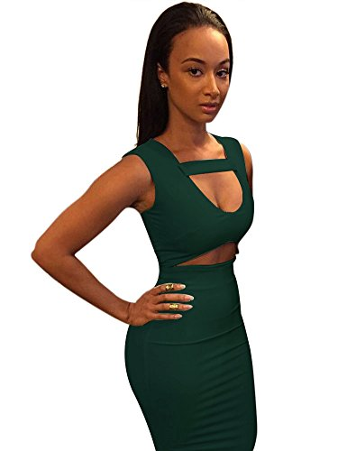 Mid Women Bodycon Allegrace Green Sexy Dress Party Stretch Bandage Army q4xTSxZw