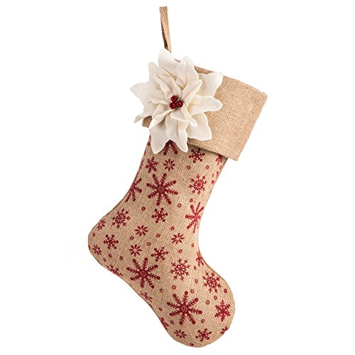 SANNO 18quot Beige Christmas Stockings with Burlap White Personalized Flower Craft Socks Design Snowflakes Decorations