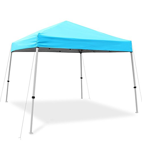 Ohuhu Pop-Up Slant Leg Canopy Tent, Instant Shelter with Wheeled Carry Bag, 10 by 10 Feet, Blue
