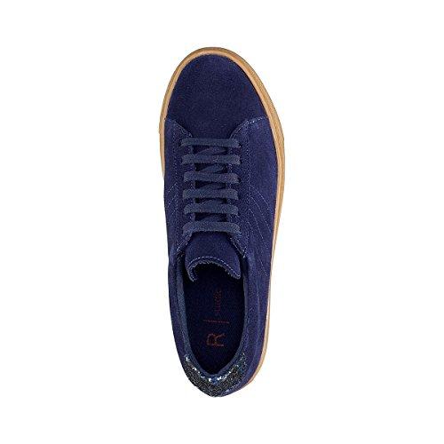 La Redoute Collections Frau Ledersneakers, Sohle in Honigfarben und Pailletten Marine