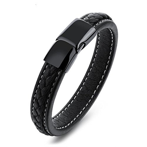 YOYOMA Men's Bracelet,Leather Cuff Bracelet for Boys Stainless Steel Charm Bracelet Friendship Bangle Bracelet with Magnetic Clasp (Black Magnetic Clasp)