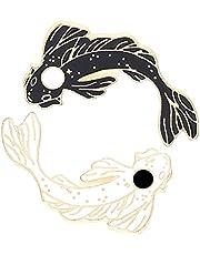 2pcs Lovely Black and White Fish Enamel Lapel Brooches Pin Set