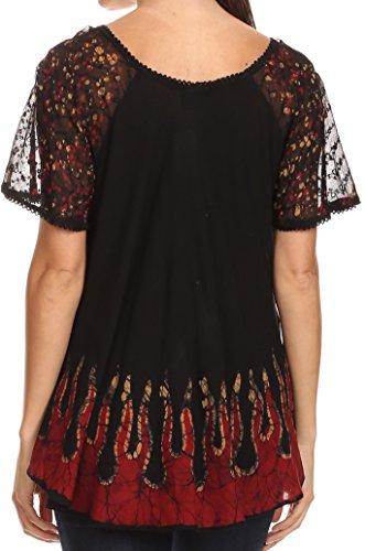 mancherons Sakkas haut batik coupe chemisier Noir Cora Or relax brode motif rr8qFw5