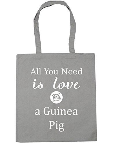 HippoWarehouse All You Need is Love und Guinee Schwein Einkaufstasche Fitnessstudio Strandtasche 42cm x38cm, 10 liter - Hellgrau, One size