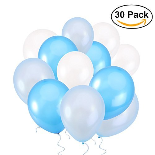 NUOLUX 12 Inch Latex Balloons Blue Balloons for Wedding Party,3 Colors,30pcs -