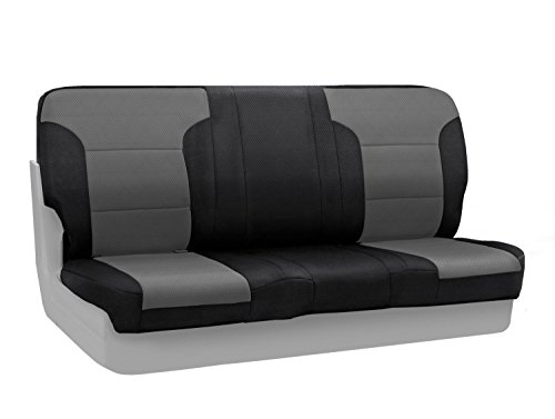 Coverking Custom Fit Front Bench Seat Cover for Select Chevrolet Models - Spacermesh 2-Tone (Gray with Black Sides) (1978 Seat Chevy Bench Truck)