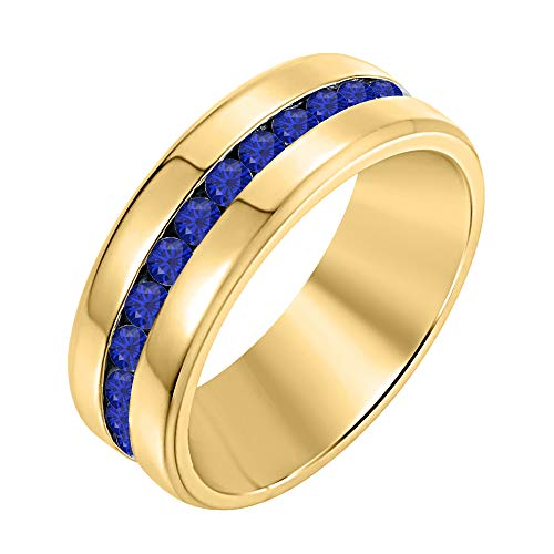 RUDRAFASHION Round Cut Created Blue Sapphire 14K Yellow Gold Half Eternity Engagement Wedding Band Ring for Men's