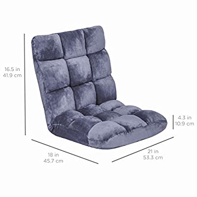 Best Choice Products 14-Position Memory Foam Folding Adjustable Gaming Floor Sofa Chair for Living Room, Bedroom, Lilac Gray: Kitchen & Dining