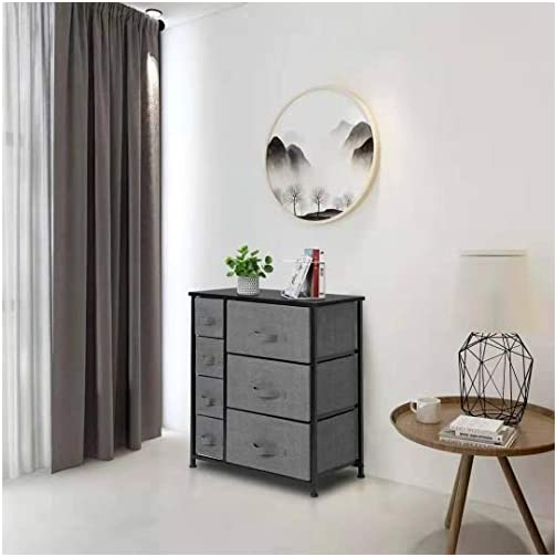 7 Drawers Dresser – Furniture Storage Tower Unit for Bedroom, Hallway, Closet, Office Organization – Steel Frame, Wood…