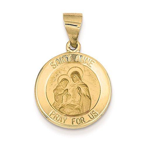 Saint Anne Medal Charm - 14K Yellow Gold Saint Anne Medal Charm Pendant