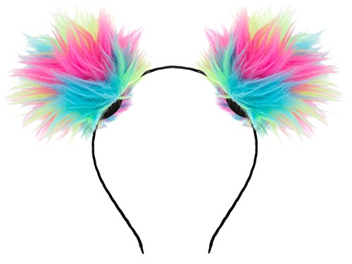 VOGUEKNOCK Ear Headband Rainbow Fluffy Ball Hair Loop Costume Pompom Ball Rabbit Ear Headband Fur Hair Jewelry