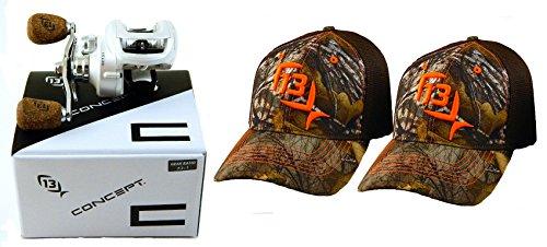 bundle-13-fishing-concept-c-c73rh-731-right-hand-baitcast-fishing-reel-with-2-l-xl-hats